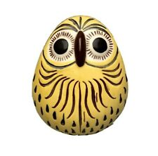 "5"" Ceramic Yellow Owl Figurine with Brown Impressed Design, Raised Nose & Eyes"