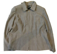 Rafaella Womens Full Zip Jacket Collared Blazer Career Work Lined Gray Size 16