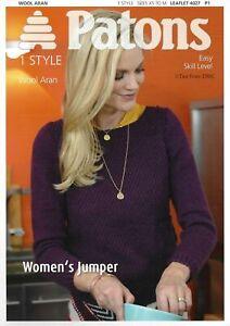 Patons 4027 Knitting Pattern Aran Wool Ladies Jumper Sweater XS to M Easy