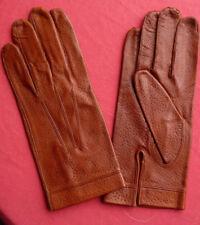 vintage gants femme cuir marron 7 1/2 peau fabrication française  NOS gloves