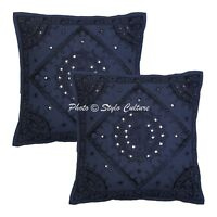 Indian Cushion Cover Art Deco Embroidered Blue Cotton Pillow Case Throw