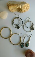 Vintage silvertone  goldtone earrings lot  tribal namel S initial hoops