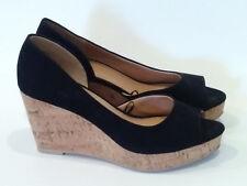 H&M {Size 8} Black Canvas Peep Toe Wedge High Heels EXCELLENT!