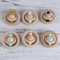Natural Wooden Ring Toy Baby Teething Silicone Beads Rattle Pendant Shower Gifts