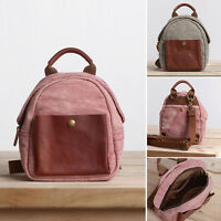 Convertible Small Mini Real Leather Canvas Backpack Rucksack Shoulder Bag Purse