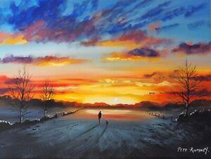 Pete Rumney Art Hand Painted Canvas Art Evening Walk Sunset Painting Dog Walk NR