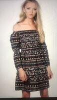 LADIES FASHION  Boohoo Black Floral & Paisley Print Shift Dress BNWT size 12