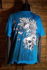 Official Sinister Brand Long Thermal Sleeve T Shirt Teal Blue XL Skater Skull