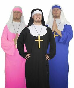 Blue Pink Black Male Nun Fancy Dress Nuns On The Run Sister Act Stag