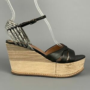 DEREK LAM Size 6 Black & Tan Leather Wood Wedge Sandals