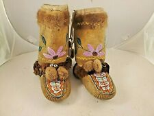 Native American Athabaskan Embroidery & Beaded Hightop Moccasins