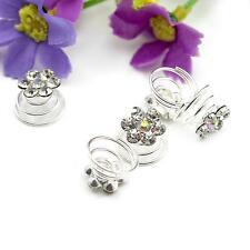 5pcs Wedding Bridal Fashion Diamond 6 Petals Flower Style Swirl Twist Hair Clip
