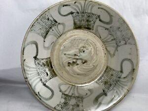 "Antique Chinese Brown Swatow 10"" Kitchen Qing bowl old Dealer sticker Thailand"