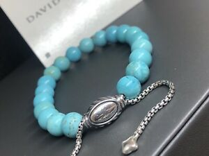 DAVID YURMAN 8mm Spiritual Bead Bracelet Sterling Silver With Turquoise -