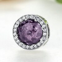 Radiant Hearts 925 Sterling Silver Royal-Purple Crystal & Clear CZ Charm Bead
