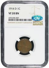 1914-D 1C Lincoln Wheat Cent Penny  NGC VF-20 CAC Certified  Key Date Coin 6007