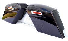 """4.5"""" Extended Saddlebags w/ chrome Hardware Gloss Black for Harley-Davidson"""