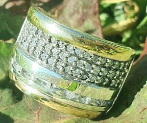 Huge and solid Two Tone Ring Sterling Silver with 9K Gold with CZ