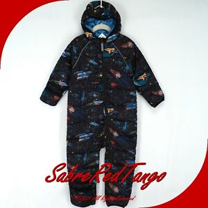 NWT HANNA ANDERSSON INSULATED SNOWSUIT BLACK OUTER SPACE PRINT 90 3T 3