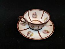 FSC Carlsbad Fine Porcelain teacup and saucer with painted scenes