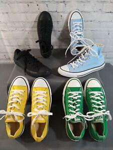 Lot of 4 CONVERSE yellow, green, lt blue, black on black - Men's 6, Women's 8