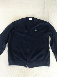 Lacoste Mens Knitted Button Up Cardigan Navy Blue Chemise 22