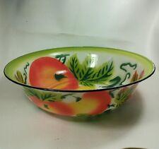 Vtg LIME GREEN Enamel Tin Serving wash tub bowl Orange Apple Grapes Fruit