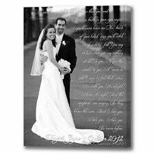 Lyrics with photo print to canvas. Your photo customized with vows, poem.