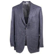 NWT $7395 KITON Slim-Fit Blue Check Cashmere-Linen-Silk Sport Coat 46L (Eu 56L)