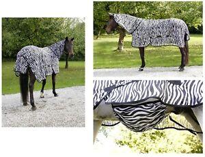 Kerbl RugBe Fliegendecke Zebra mit Halsteil * Ekzemerdecke Pferdedecke * 125-165