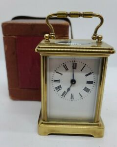 Victorian Brass & Beveled Glass Carriage Clock w/Original Carrying Case France