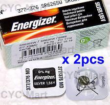 2 pedazo x Energizer 377 SR626SW Óxido de plata Pilas GRATIS POSTE Made in USA