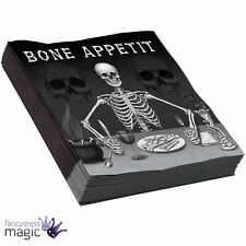 Bone Appetit Pack 16 Paper Napkins  Halloween Horror Tableware Party Decoration