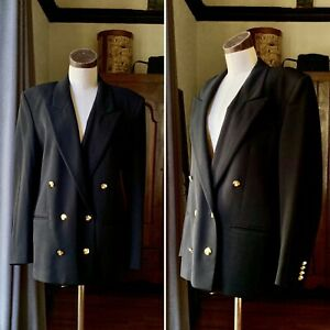 AUSTIN REED Vintage Black Double Breasted Wool Jacket Iconic Gold Buttons 12