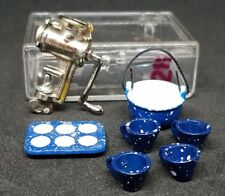 Miniature Dollhouse Shadowbox Lot Meat Grinder Muffin Tray Pot Cups Kitchen Cook