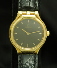 OMEGA DEVILLE SOLID 18K GOLD LADIES WATCH SWISS Luxury New Battery 23mm HTF RARE