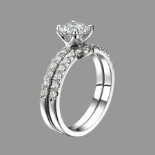 2 1/4 CT Diamond Engagement Ring Set Enhanced Round D/SI1 18K White Gold Size 7