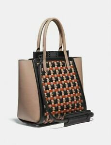 New COACH Troupe Tote Weaving Bag Leather Woven Black Pewter Brown MSRP $850