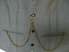 unusual double albert antiques bronze  plated  pocket watch chain fob t bar