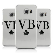 PERSONALISED BLACK INITIALS & CROWN CLEAR PHONE CASE COVER FOR SAMSUNG GALAXY