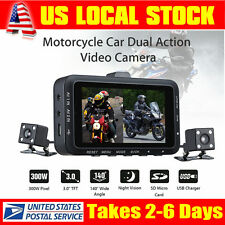 "Motorcycle 3"" LCD Car Action Dual Camera Dash Camcorder Recorder Mic Waterproof"