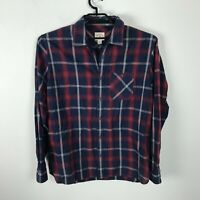 Brooks Brother Red Fleece Shirt Mens Size XL Long Sleeve Blue Red Plaid Cotton