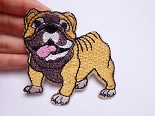 British bulldog patches embroidered patch applique iron on sew motif sewing UK