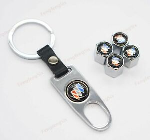 1Set For Buick Car Wheel Tire Valve Stems Caps Covers Keyring Keychain Logo