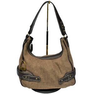 Chaps Tweed Hobo Shoulder Handbag Purse Faux Leather Fabric Zip Top Brown Vegan