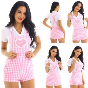 Women's Gingham Print Babydoll Jumpsuit Romper Babydoll Short Overalls Shortalls