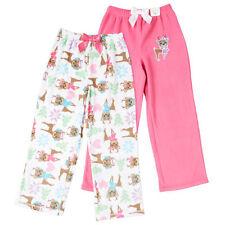 NEW St. Eve Girl's Cozy Fleece Elastic Waist Sleep Pants 2-pack Reindeer 12