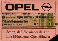 Ticket BL 91/92 FC Bayern München - 1. FC Kaiserslautern, Sitzplatz Gegengerade