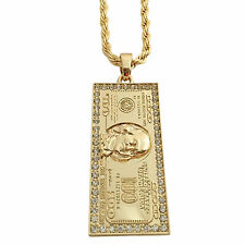Gold 14K GP Hip Hop Large 100 Dollar $100 Iced CZ Pendant Necklace Rope Chain