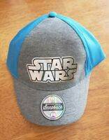 Disney Star Wars Hat Ball Cap NWT Boys Youth Blue Gray Shiny Lettering Baseball